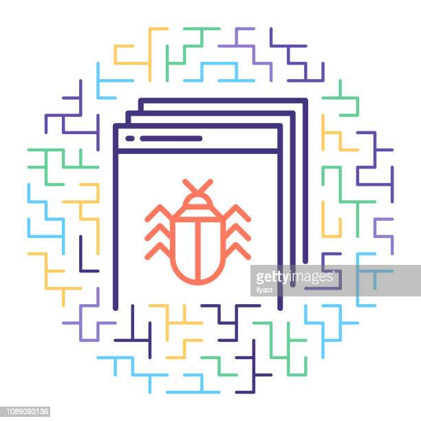Software Engineering & Debugging Vector Line Icon Illustration
