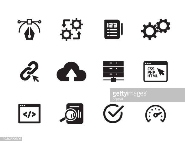 software engineering icon set - scrutiny stock illustrations