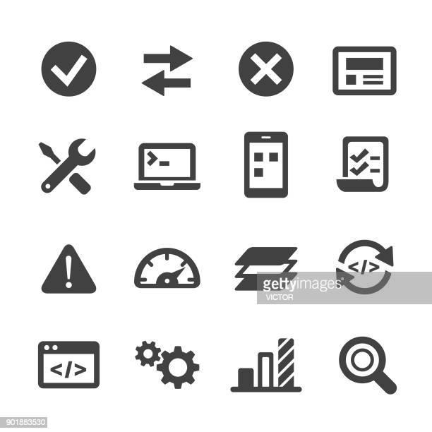 ilustraciones, imágenes clip art, dibujos animados e iconos de stock de iconos de la ingeniería de software - serie acme - sistema operativo