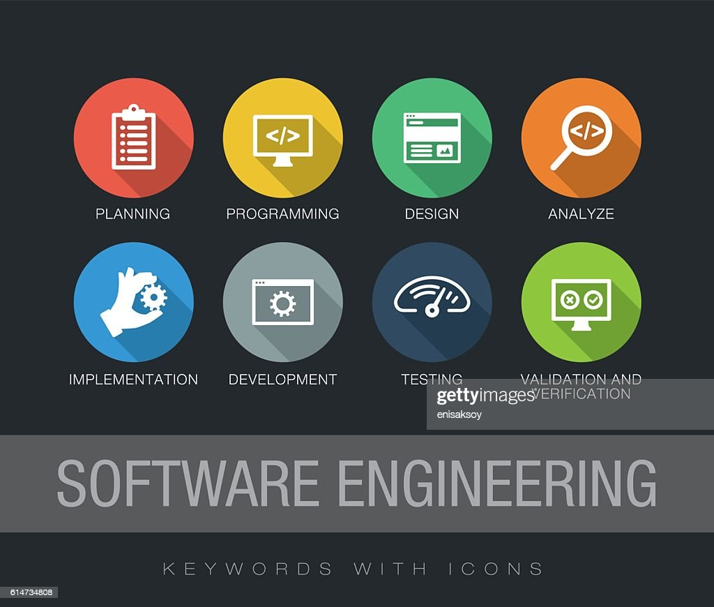Software Engineering keywords with icons : stock illustration