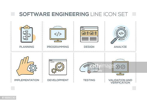 software engineering keywords with line icons - html stock illustrations, clip art, cartoons, & icons