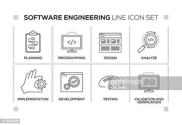 Software Engineering keywords with monochrome line icons