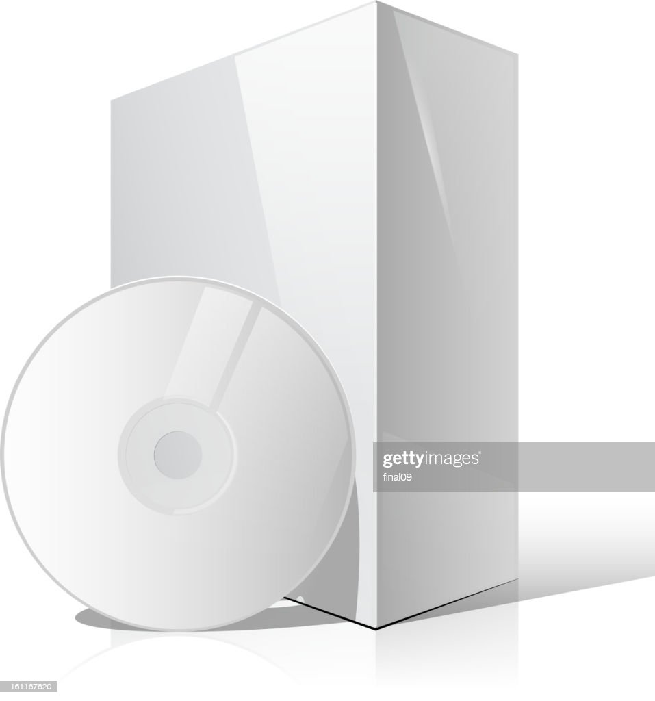 Software packaging. White Package Box With DVD Disk