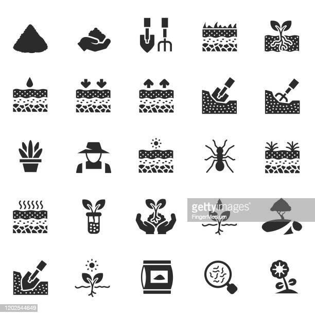 soil icon set - geology stock illustrations