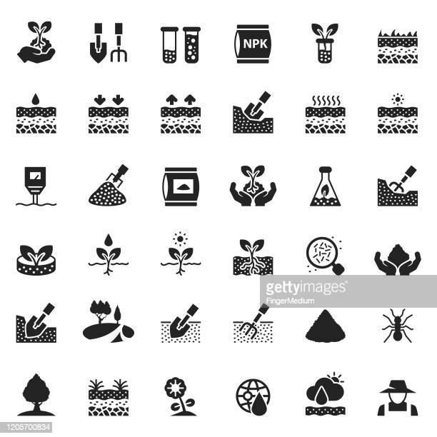 illustrations, cliparts, dessins animés et icônes de ensemble d'icône de sol - sable