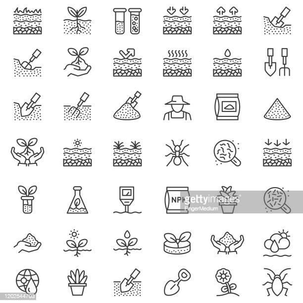 土壌ライン アイコン セット - 掘る点のイラスト素材/クリップアート素材/マンガ素材/アイコン素材