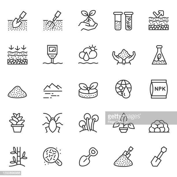 illustrazioni stock, clip art, cartoni animati e icone di tendenza di set di icone del vettore suolo - sabbia