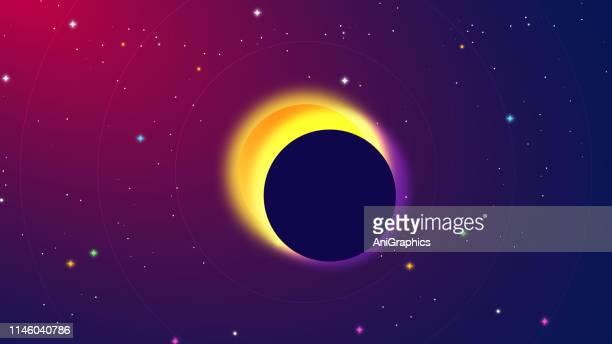 ilustraciones, imágenes clip art, dibujos animados e iconos de stock de fondo solar y lunar eclipse - eclipsesolar