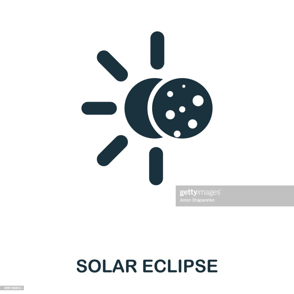 Solar Eclipse icon. Flat style icon design. UI. Illustration of solar eclipse icon. Pictogram isolated on white. Ready to use in web design, apps, software, print.
