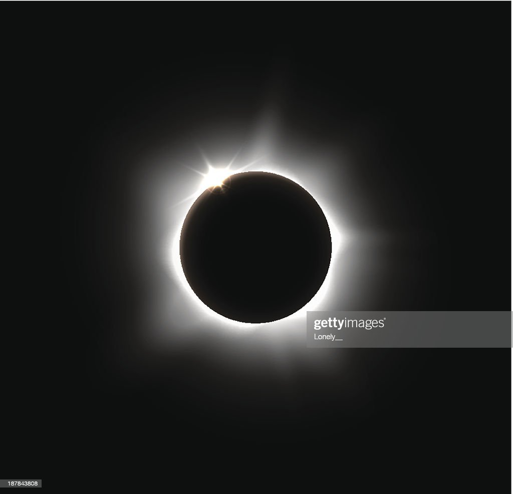 Solar eclipse on a solid black space background