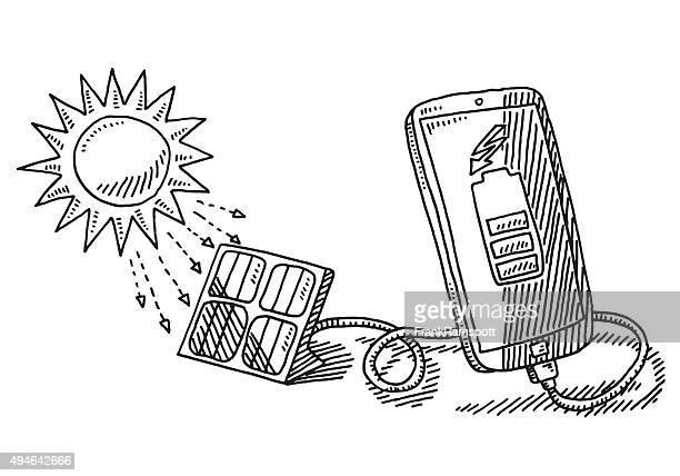 Solar Energy Charging Smart Phone Drawing