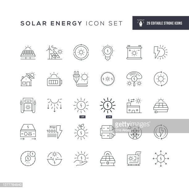 solar energy editable stroke line icons - solar energy stock illustrations