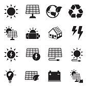 Solar Energy Icons. Black Flat Design. Vector Illustration.