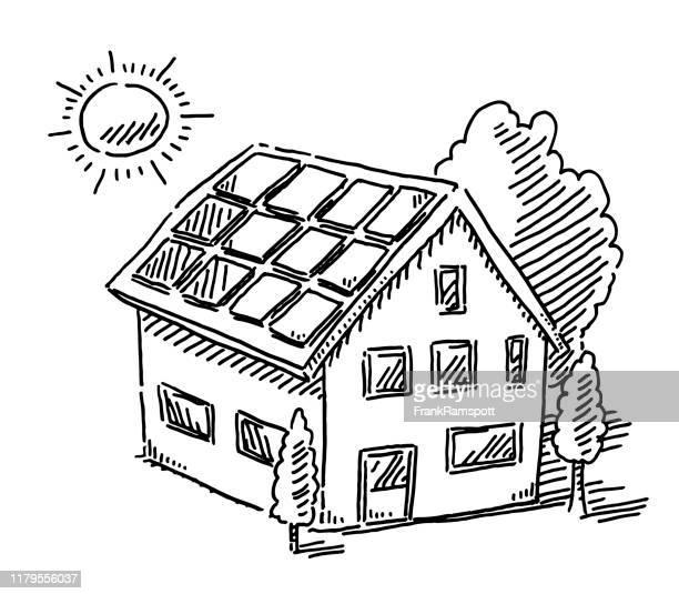 bildbanksillustrationer, clip art samt tecknat material och ikoner med solenergi paneler på husritning - solenergi