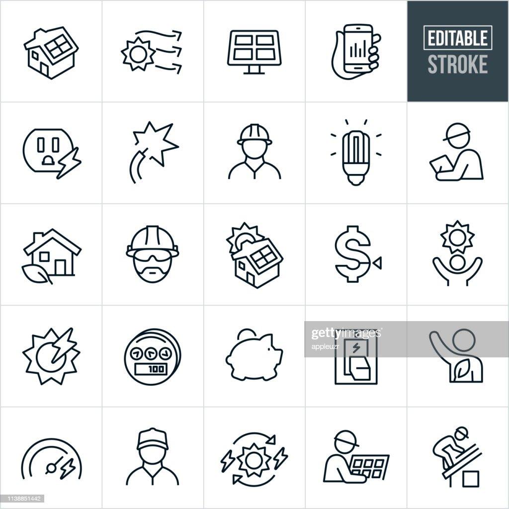 Solar Energy Thin Line Icons - Editable Stroke : stock illustration