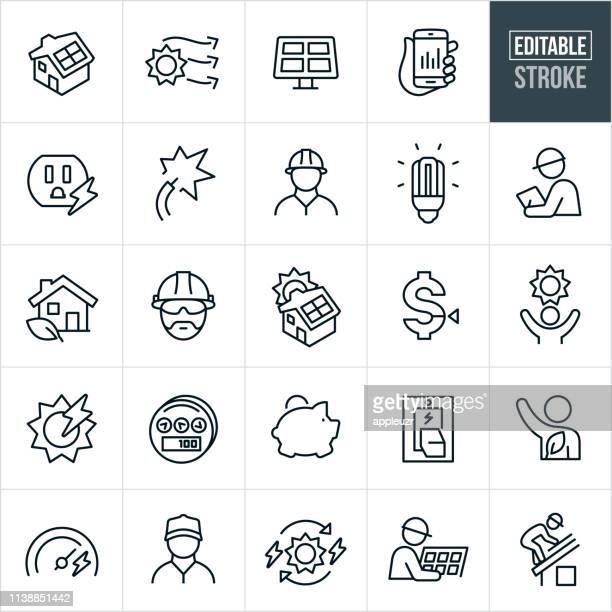 solar energy thin line icons - editable stroke - solar panel stock illustrations