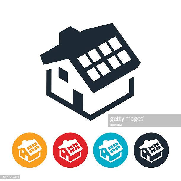 solar home icon - solar power station stock illustrations, clip art, cartoons, & icons