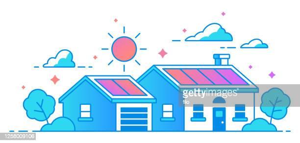 bildbanksillustrationer, clip art samt tecknat material och ikoner med solpanel hem - solenergi