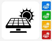 Solar Panel Icon Flat Graphic Design