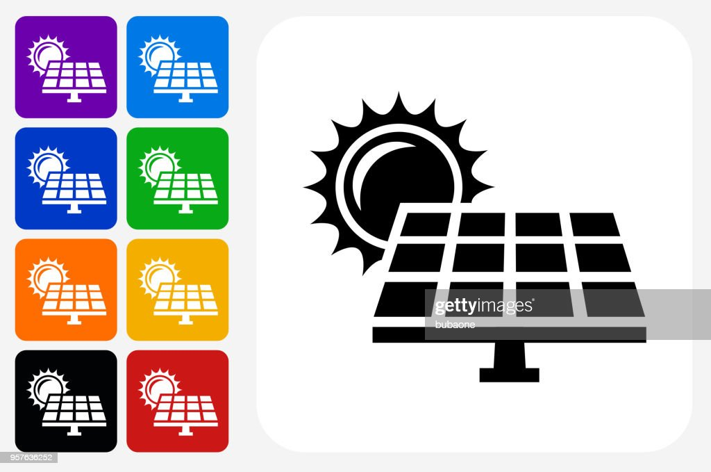 Solar Panel Icon Square Button Set stock illustration