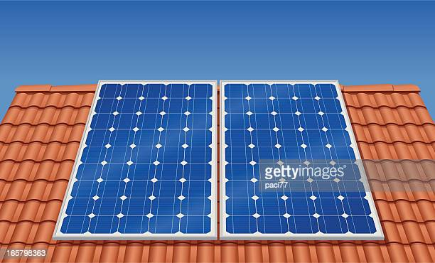 solar panel on the roof (vector) - solar mirror stock illustrations