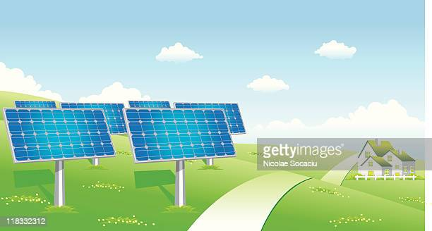 solar panels energy - solar mirror stock illustrations