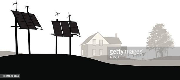 solar power vector silhouette - solar mirror stock illustrations
