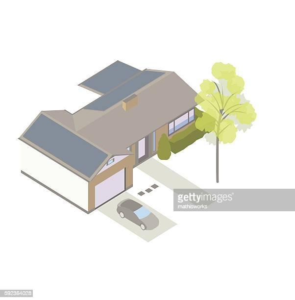 Solar powered home isometric illustration