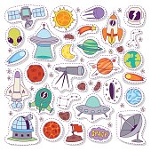 Solar system astronomy icons stickers vector set.