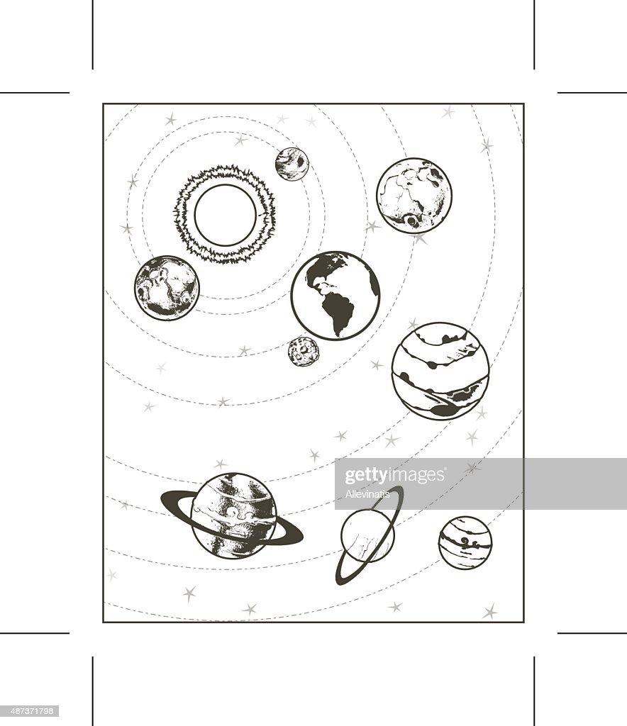 Solar system, black drawing sketch, vector illustration