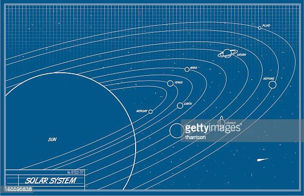 solar system blueprint - solar system stock illustrations