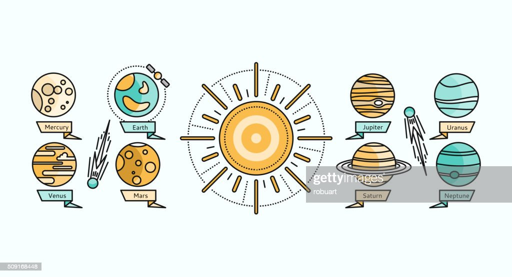 Solar System Icon Flat Design Style