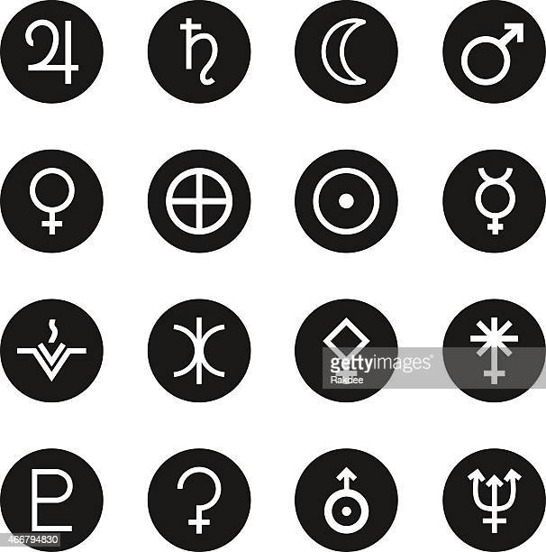 solar system icons - black circle series - venus roman goddess stock illustrations, clip art, cartoons, & icons