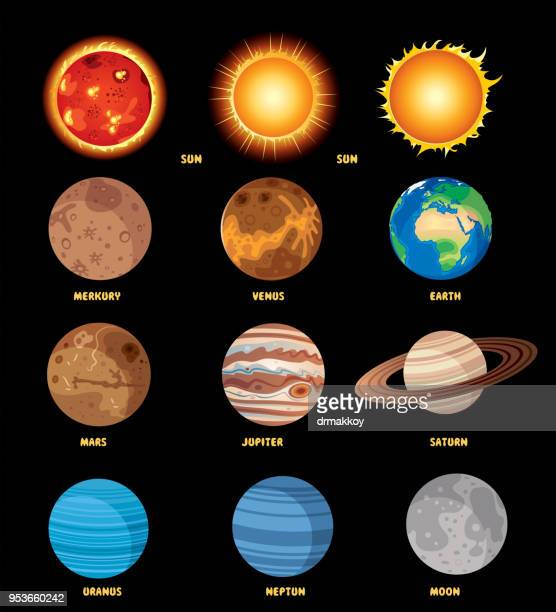 solar system poster - planet space stock illustrations