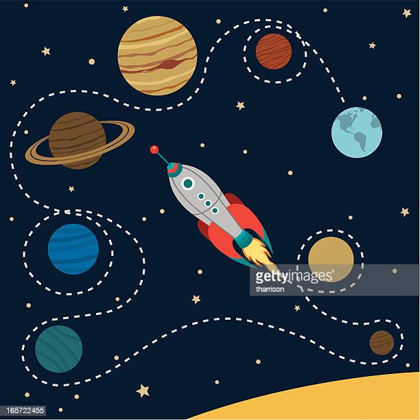 solar system travel - planet space stock illustrations