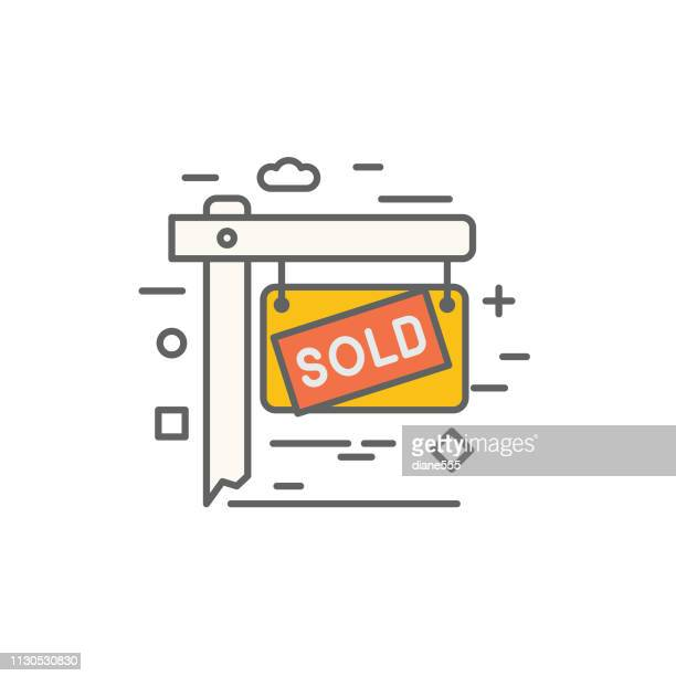 sold lawn sign thin line real estate icon set - selling stock illustrations