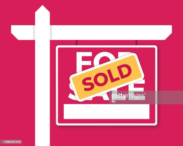 sold property real estate sign - selling stock illustrations