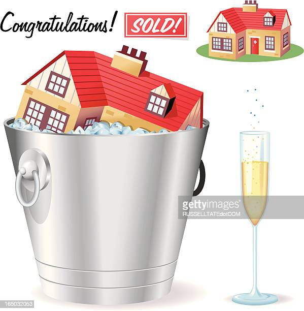 sold! - ice bucket stock illustrations, clip art, cartoons, & icons