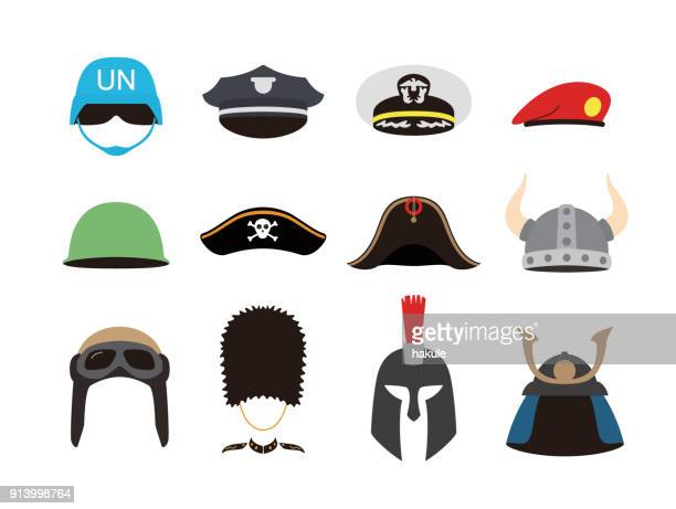 solder hat helmet set, vector illustration - hat stock illustrations