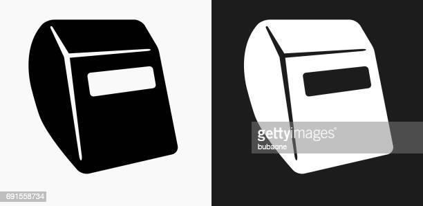 ilustraciones, imágenes clip art, dibujos animados e iconos de stock de icono del casco en blanco y negro vector fondos de soldadura - soldar