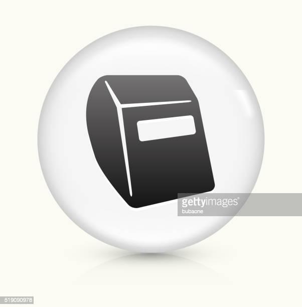 ilustraciones, imágenes clip art, dibujos animados e iconos de stock de casco para soldar icono sobre blanco, vector de redondo botón - soldador