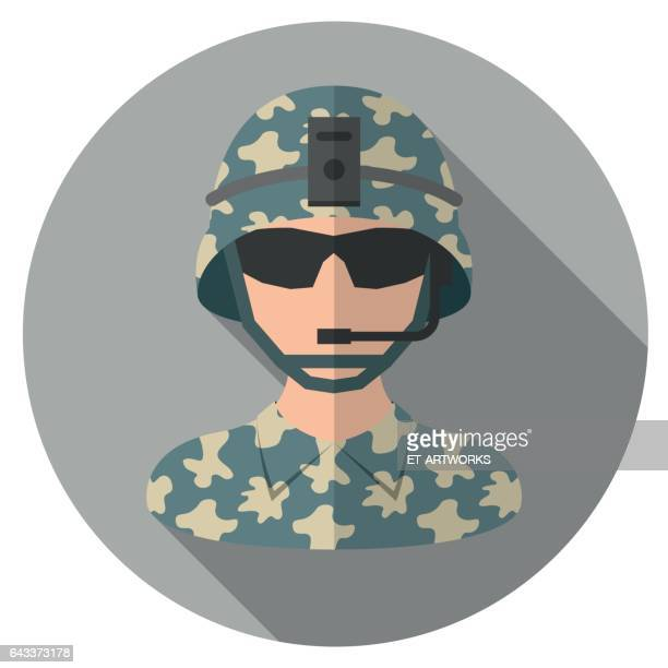 soldier flat icon - military stock illustrations, clip art, cartoons, & icons