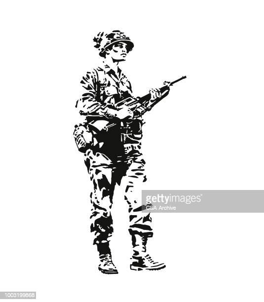 soldier holding a rifle - army helmet stock illustrations, clip art, cartoons, & icons