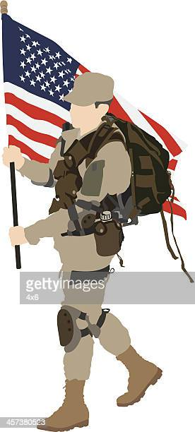 soldier holding an american flag - special forces stock illustrations, clip art, cartoons, & icons