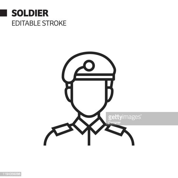 soldier line icon, outline vector symbol illustration. pixel perfect, editable stroke. - army soldier stock illustrations
