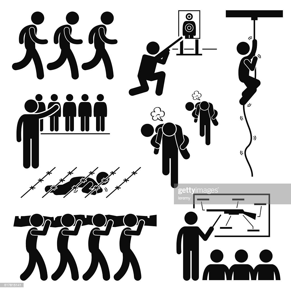 Soldier Military Training Workout Stick Figure Pictogram Icons