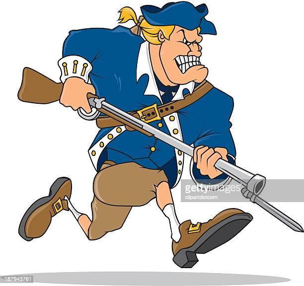 ilustrações, clipart, desenhos animados e ícones de soldado da revolução americana - american revolution