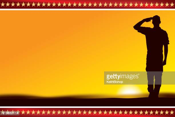 us soldier or boy scout saluting at sunset or dawn - military personnel stock illustrations, clip art, cartoons, & icons