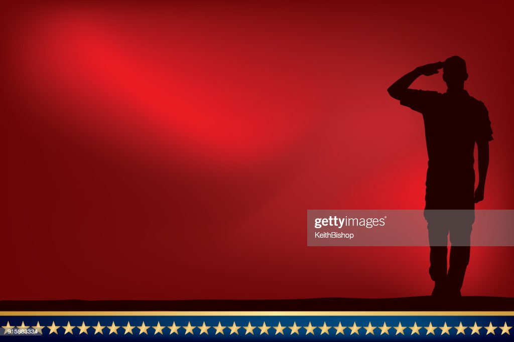 US Soldier or Boy Scout Saluting at Sunset or Dawn : Stock Illustration