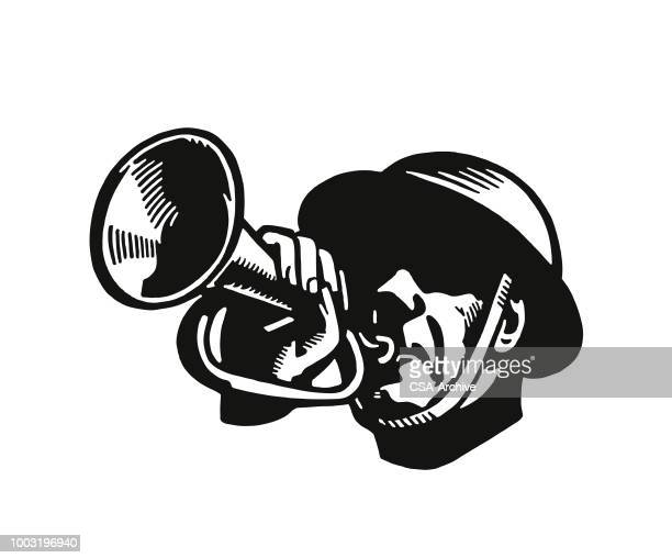 soldier playing a bugle - army helmet stock illustrations, clip art, cartoons, & icons